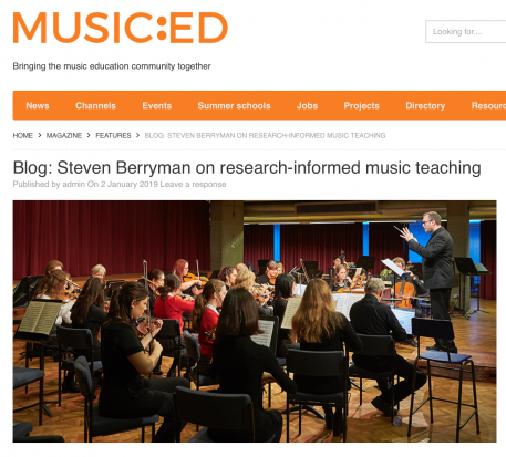 Guest blog for Music Education UK (January 2019)